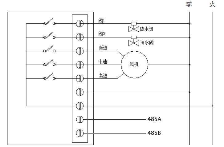 485联网型房间温控器接线图(四管制)