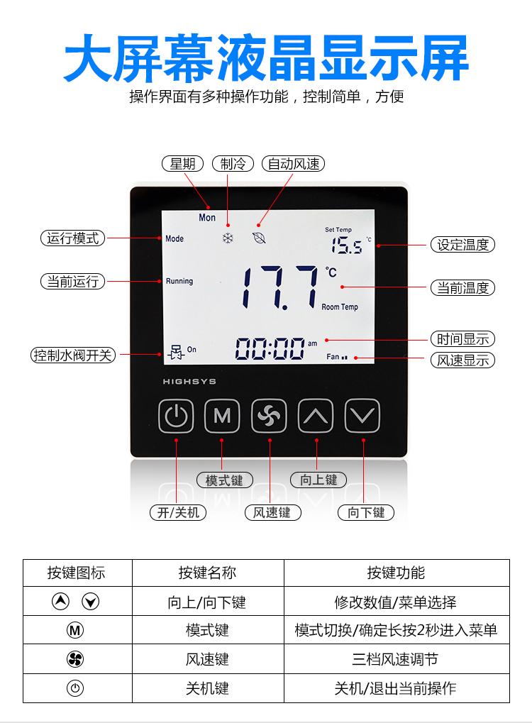 海思485联网空调温控器液晶面板指示